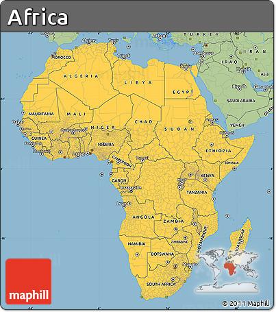 Elegant ... Savanna Style Simple Map Of Africa ...