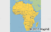 Savanna Style Simple Map of Africa, single color outside