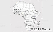 Silver Style Simple Map of Africa, cropped outside