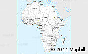 Silver Style Simple Map of Africa, single color outside