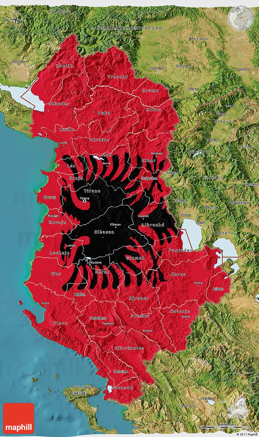 Flag D Map Of Albania Satellite Outside Flag Rotated - Albania satellite map