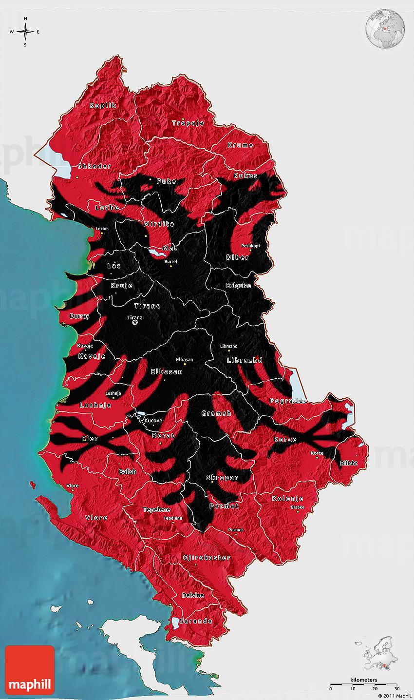 Flag D Map Of Albania Single Color Outside Satellite Sea Flag - Albania satellite map
