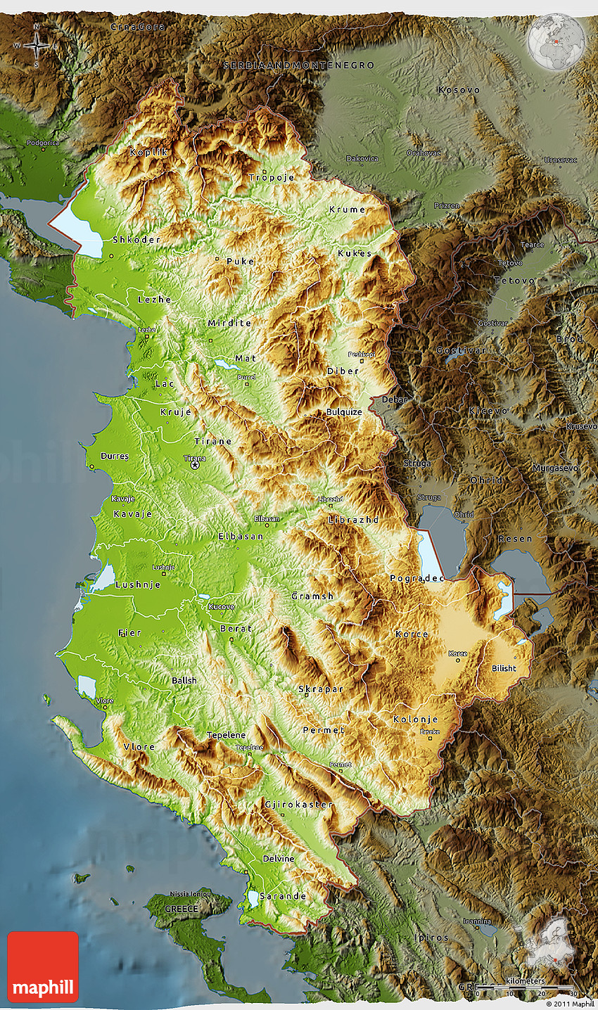 Physical D Map Of Albania Darken - Albania physical map