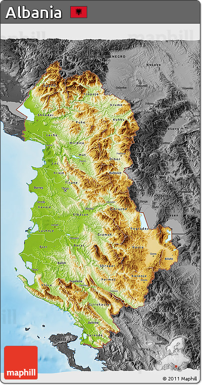 Free Physical D Map Of Albania Darken Desaturated Land Only - Albania physical map