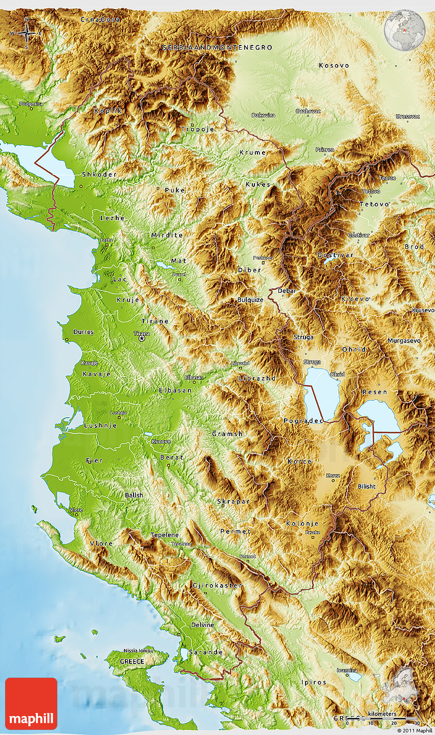 Physical 3d Map Of Albania