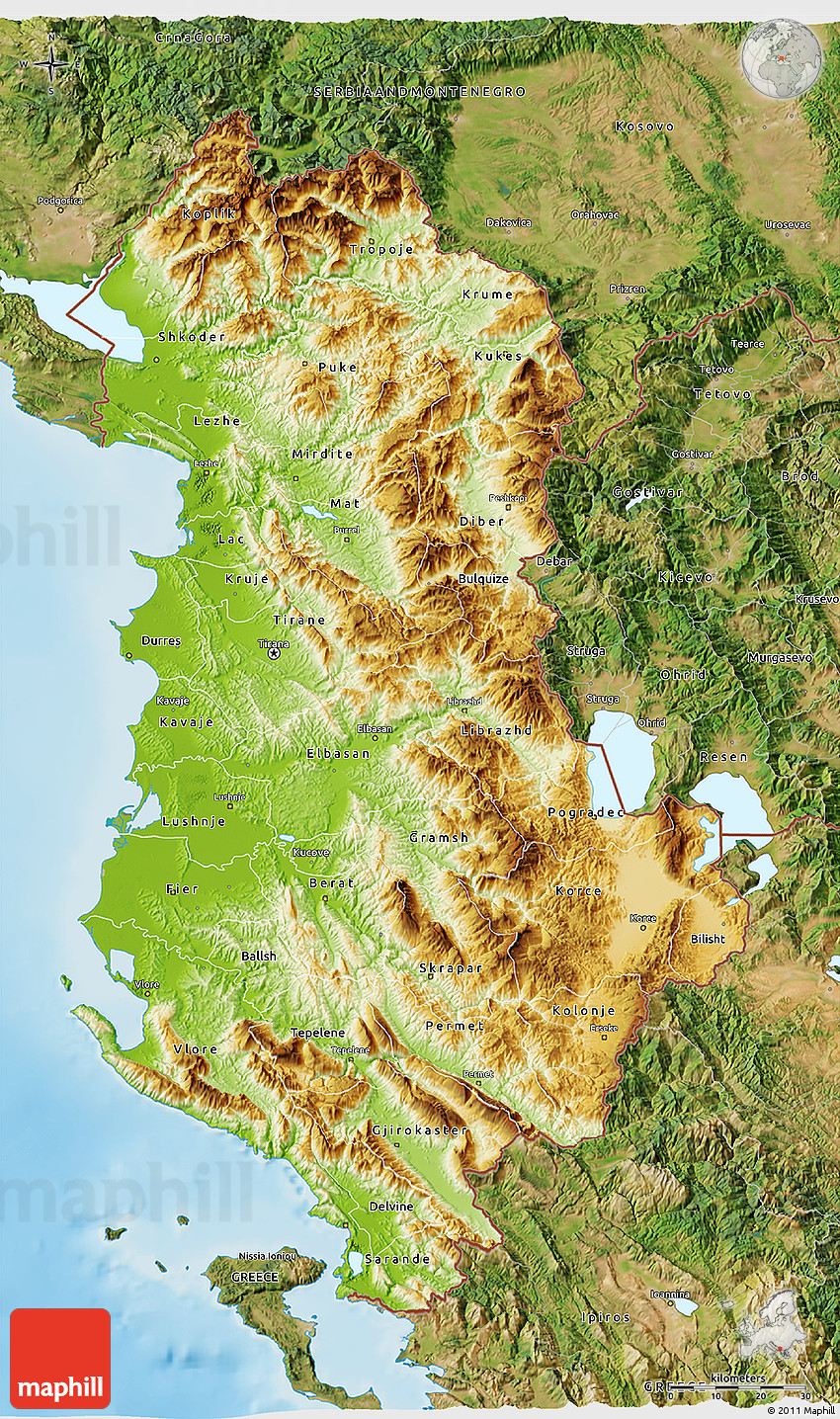 Physical D Map Of Albania Satellite Outside Shaded Relief Sea - Albania satellite map