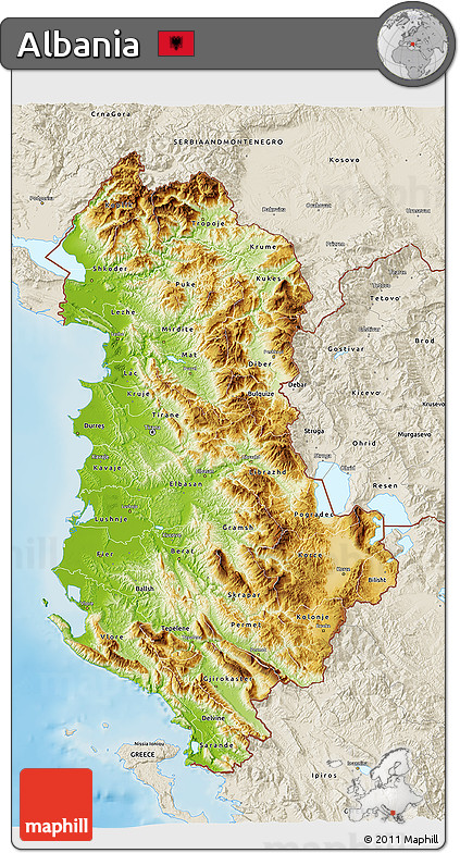 Free Physical D Map Of Albania Shaded Relief Outside - Albania map