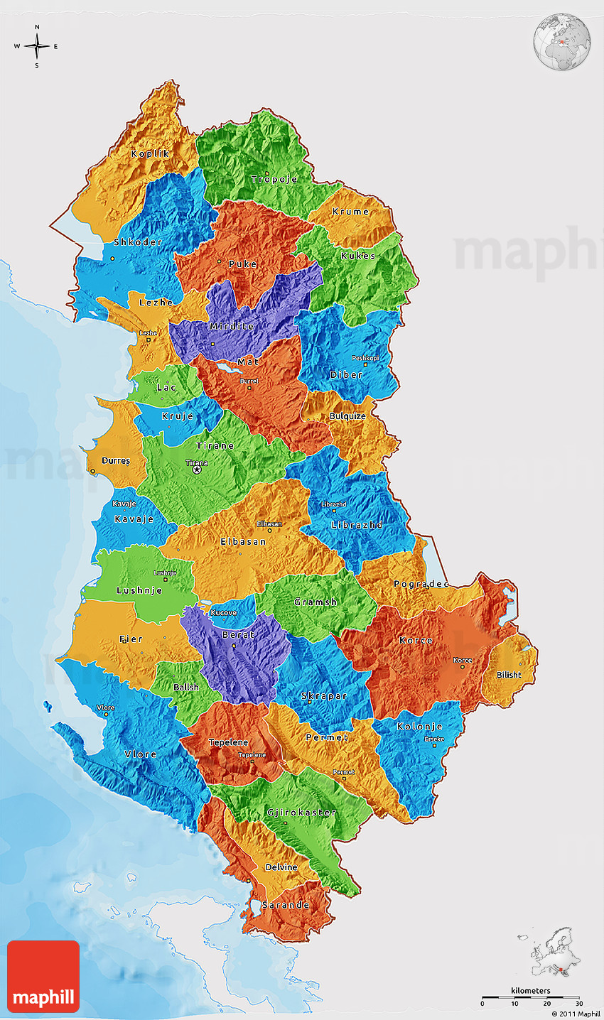 Political 3D Map of Albania, single color outside