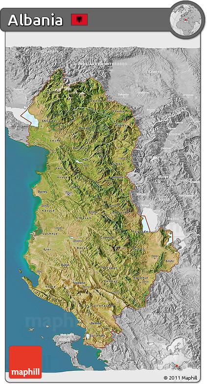 Free Satellite D Map Of Albania Lighten Desaturated Land Only - Albania satellite map