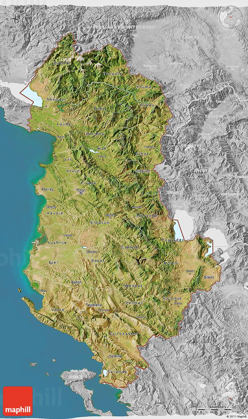 Satellite D Map Of Albania Lighten Desaturated Land Only - Albania satellite map