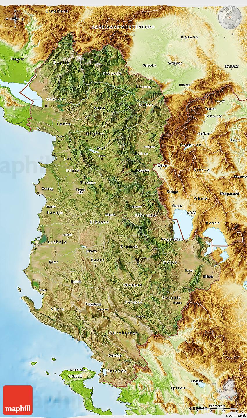 Satellite D Map Of Albania Physical Outside - Albania satellite map