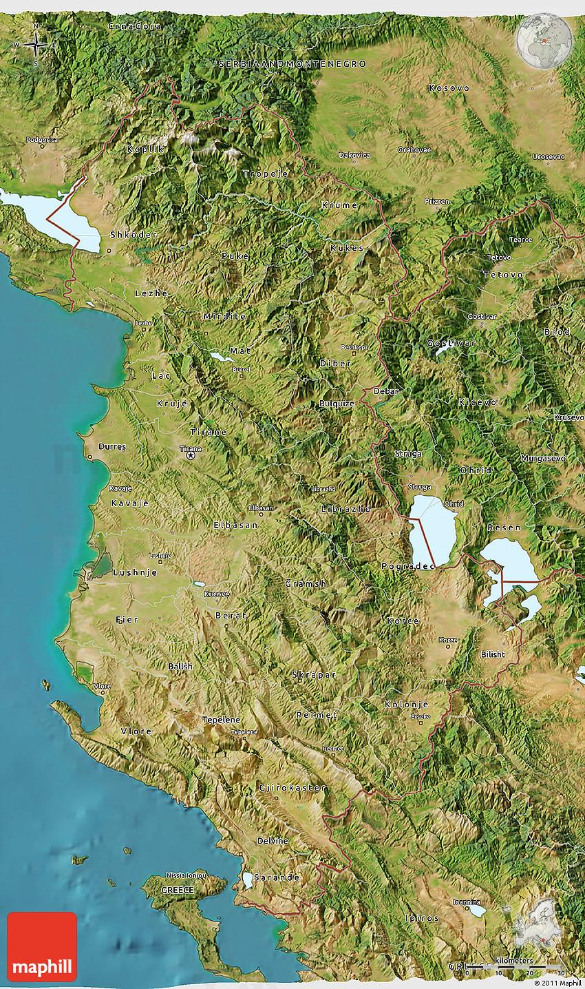 Satellite D Map Of Albania - Albania satellite map