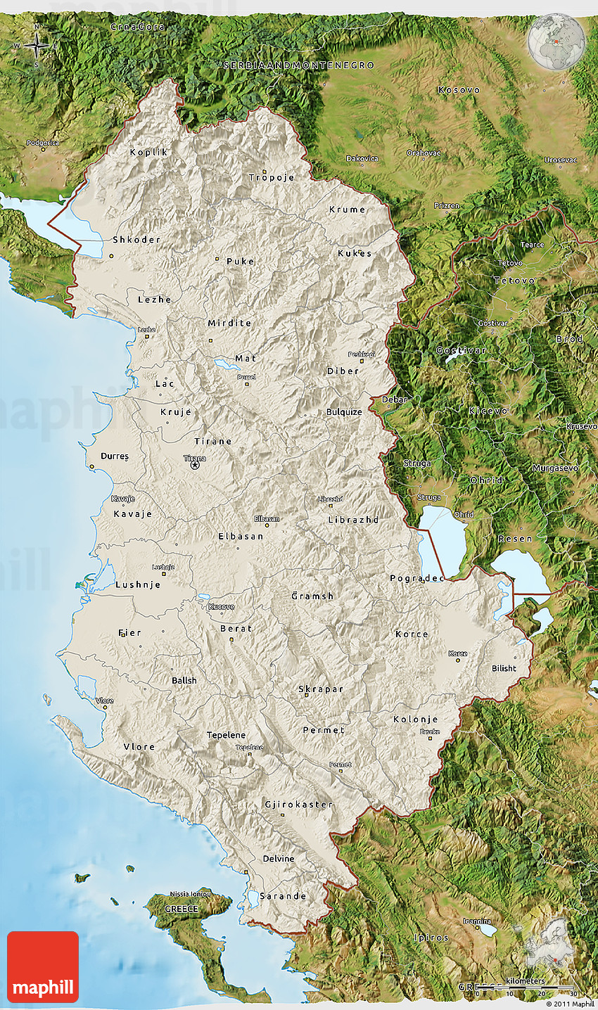 Shaded Relief D Map Of Albania Satellite Outside Shaded Relief Sea - Albania satellite map