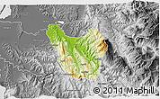 Physical 3D Map of Berat, desaturated