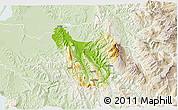 Physical 3D Map of Berat, lighten