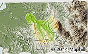 Physical 3D Map of Berat, semi-desaturated