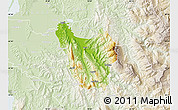 Physical Map of Berat, lighten