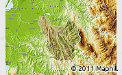 Satellite Map of Berat, physical outside