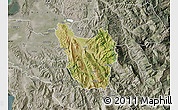 Satellite Map of Berat, semi-desaturated