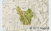Satellite Map of Berat, shaded relief outside