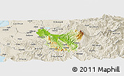 Physical Panoramic Map of Berat, shaded relief outside