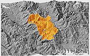 Political 3D Map of Bulquizë, desaturated