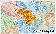 Political 3D Map of Bulquizë, lighten