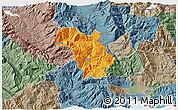 Political 3D Map of Bulquizë, semi-desaturated