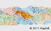 Political Panoramic Map of Bulquizë, lighten
