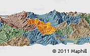 Political Panoramic Map of Bulquizë, semi-desaturated