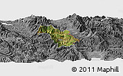 Satellite Panoramic Map of Bulquizë, desaturated