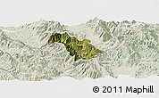 Satellite Panoramic Map of Bulquizë, lighten