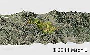 Satellite Panoramic Map of Bulquizë, semi-desaturated