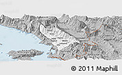 Gray Panoramic Map of Delvinë