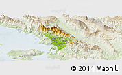 Physical Panoramic Map of Delvinë, lighten