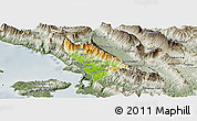 Physical Panoramic Map of Delvinë, semi-desaturated