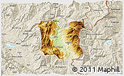 Physical 3D Map of Dibër, shaded relief outside