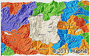 Shaded Relief 3D Map of Dibër, political outside