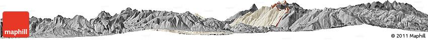 Shaded Relief Horizon Map of Dibër, darken, desaturated