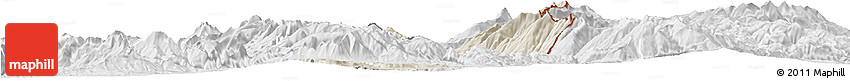 Shaded Relief Horizon Map of Dibër, lighten, desaturated