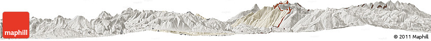 Shaded Relief Horizon Map of Dibër, semi-desaturated