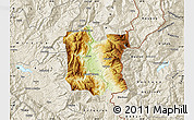Physical Map of Dibër, shaded relief outside