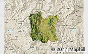 Satellite Map of Dibër, shaded relief outside