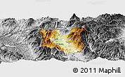 Physical Panoramic Map of Dibër, desaturated