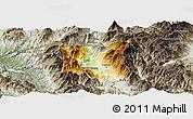 Physical Panoramic Map of Dibër, semi-desaturated