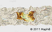 Physical Panoramic Map of Dibër, shaded relief outside