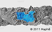 Political Panoramic Map of Dibër, desaturated