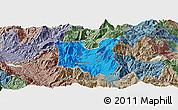 Political Panoramic Map of Dibër, semi-desaturated