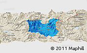 Political Panoramic Map of Dibër, shaded relief outside