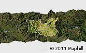 Satellite Panoramic Map of Dibër, darken
